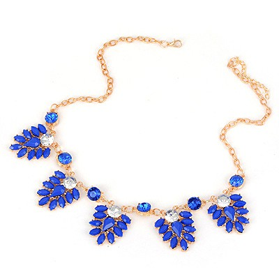 Hunting Sapphire Five Flowers Decorated Design Alloy Bib Necklaces