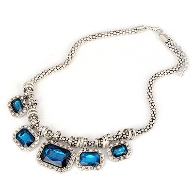 Peridot Blue Geometric Gemstone Decorated Design Alloy Bib Necklaces