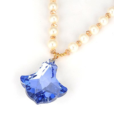 Hunting Blue Boat Anchor Shape Design Pearl Beaded Necklaces