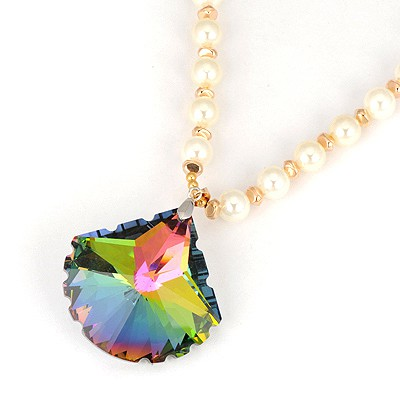 Lucky Multicolor Sector Shape Design Pearl Beaded Necklaces