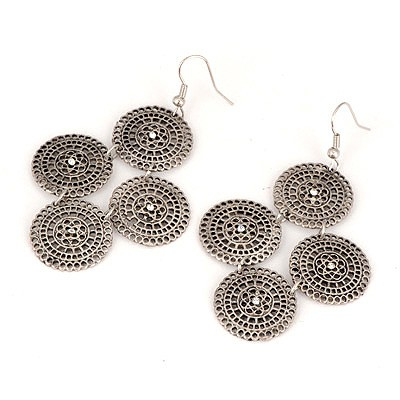 Bodybuildi Antique Round Shape Hollow Out Design Alloy Korean Earrings