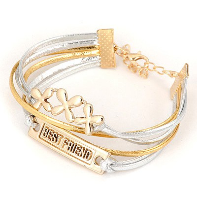 Locket Gold Letters Best Friend Design Alloy Korean Fashion Bracelet