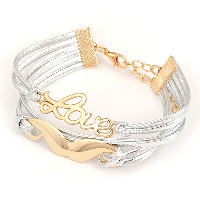 Lush Gold Moustache&Love Design Alloy Korean Fashion Bracelet