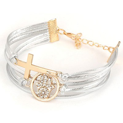 Hot Gold Cross&Palm Design Alloy Korean Fashion Bracelet