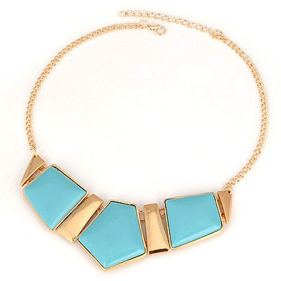 Classical Blue Geometric Matching Design Alloy Bib Necklaces
