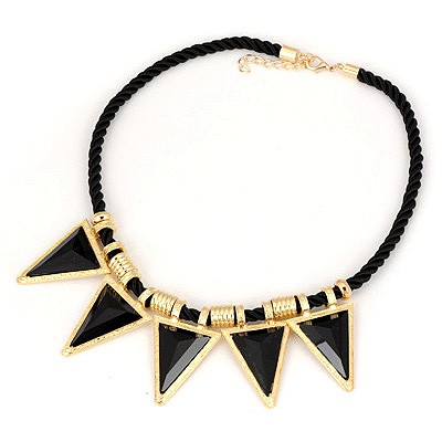 Pendant Black Triangle Pendant Design Alloy Bib Necklaces