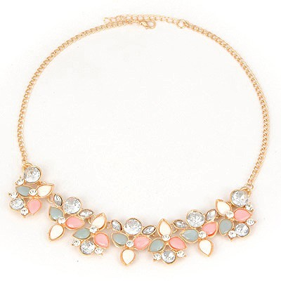 Varsity Pink Flower Matching Design Alloy Bib Necklaces