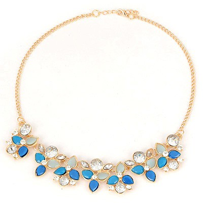 Magnifying Blue Flower Matching Design Alloy Bib Necklaces