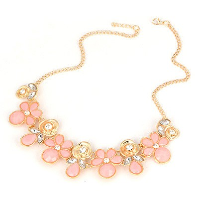 Minted Pink Blink Flower Design Alloy Bib Necklaces