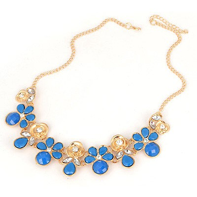 Homemade Blue Blink Flower Design Alloy Bib Necklaces