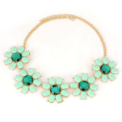 Friendly Green Five Flower Design Alloy Bib Necklaces