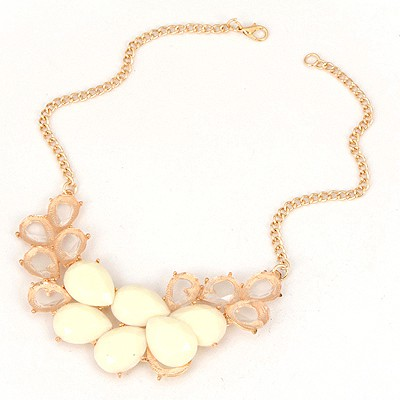 2012 White Gemstone Water Drop Design Alloy Bib Necklaces