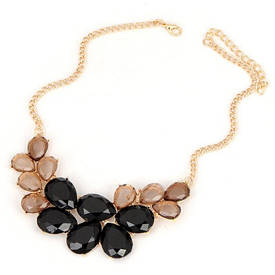 Coral Black Gemstone Water Drop Design Alloy Bib Necklaces