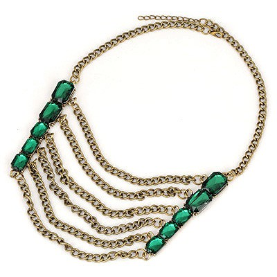 Square Green Gemstone Decorated Tassels Design Alloy Bib Necklaces