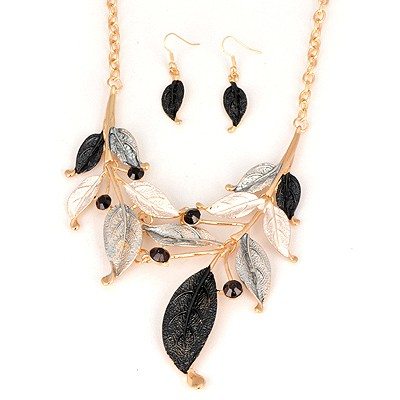 Retro Gray Leaf Painting Design Alloy Jewelry Sets