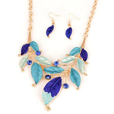Engraved Blue Leaf Painting Design Alloy Jewelry Sets