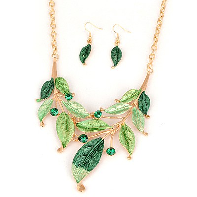 Fused Green Leaf Painting Design Alloy Jewelry Sets