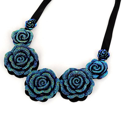 Celtic Blue Rose Shape Fake Collar Design Alloy Bib Necklaces