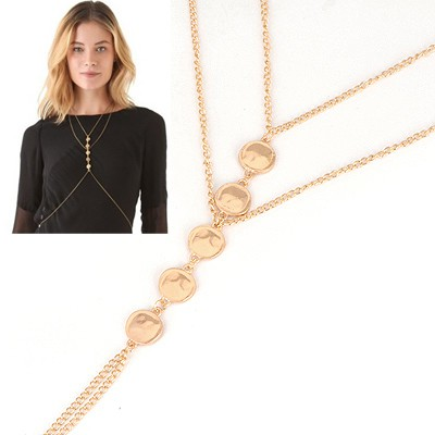 Fabulous Gold Round Matching Design Alloy Body Chains