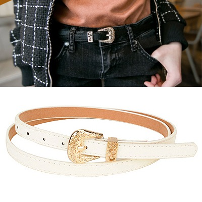 Correspond White Hollow Out Flower Design Pu Thin belts
