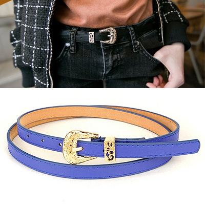 Political Blue Hollow Out Flower Design Pu Thin belts