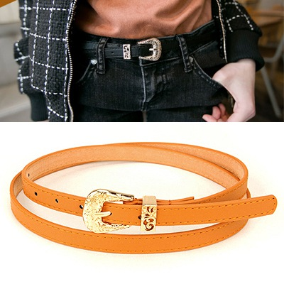 Sparking Brown Hollow Out Flower Design Pu Thin belts