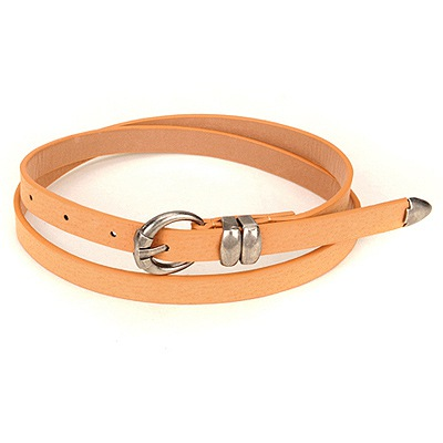 Decorative Brown Copper Buckle Design Pu Thin belts