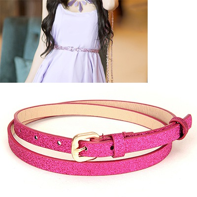 Beauteous Plum Red Thin Sequins Design Pu Thin belts