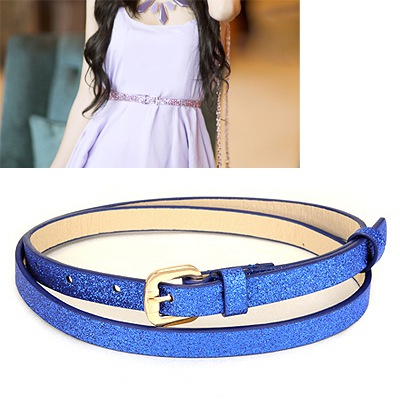 Japanese Blue Thin Sequins Design Pu Thin belts