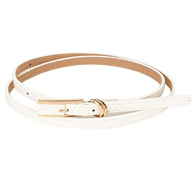 Discount White Square Shape Double Buckle Design Pu Thin belts
