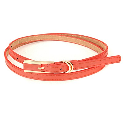 Affinity Red Square Shape Double Buckle Design Pu Thin belts