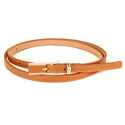 Shopping Brown Square Shape Double Buckle Design Pu Thin belts