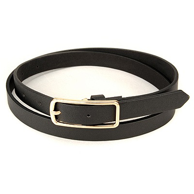 Denim Black Square Shape Simple Design Pu Thin belts