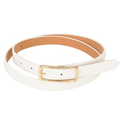 Parker White Square Shape Simple Design Pu Thin belts
