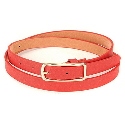 Personaliz Red Square Shape Simple Design Pu Thin belts