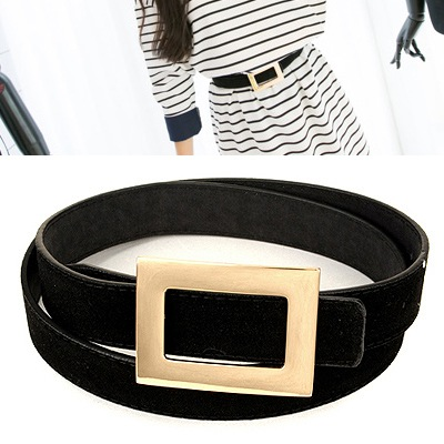 Equestrian Black Wide Square Buckle Design Pu Thin belts