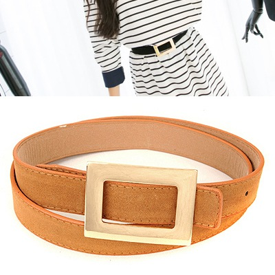 Pendants Brown Wide Square Buckle Design Pu Wide belts