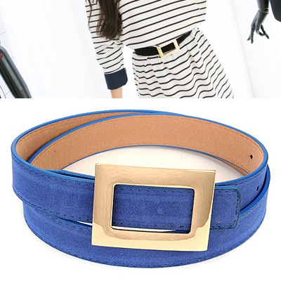 Claddagh Blue Wide Square Buckle Design Pu Thin belts