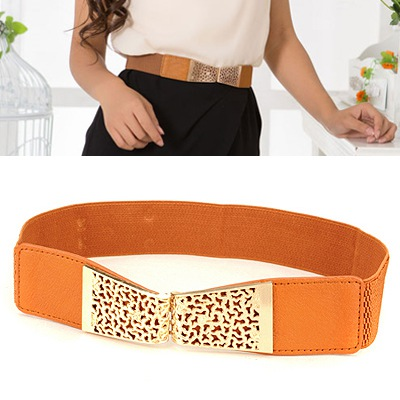 Avalon Orange Hollow Out Flower Design Alloy Wide belts