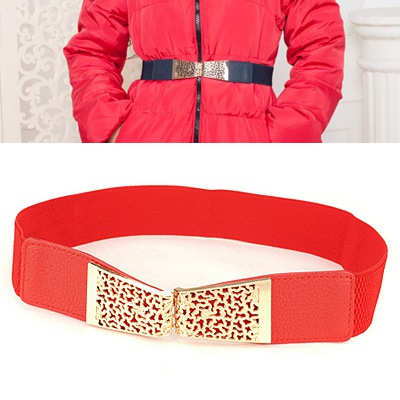 Marvelous Red Hollow Out Flower Design Alloy Wide belts