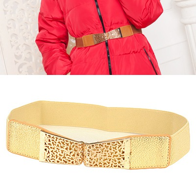 Graduation Gold Hollow Out Flower Design Alloy Wide belts