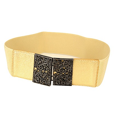 Unique Gold Vintage Hollow Out Flower Design Alloy Wide belts
