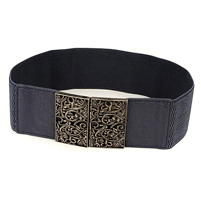 Designer Deep Blue Vintage Hollow Out Flower Design Alloy Wide belts