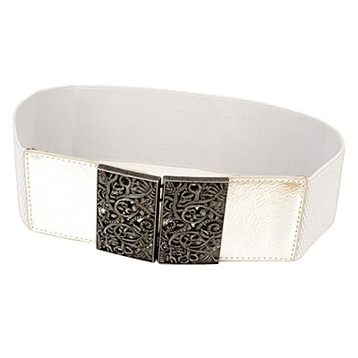 Down Silver Vintage Hollow Out Flower Design Alloy Wide belts