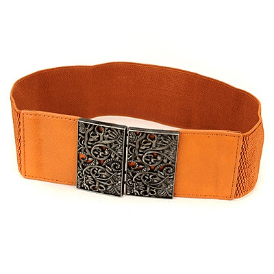 Current Orange Vintage Hollow Out Flower Design Alloy Wide belts