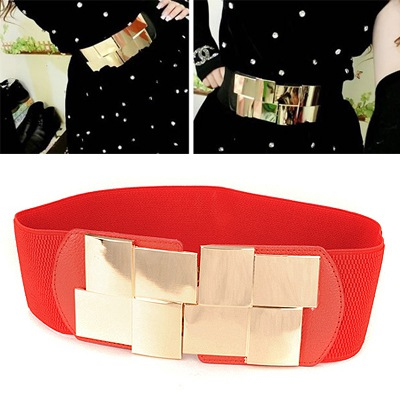 Crinkle Red Simple Decorated Design Alloy Wide belts