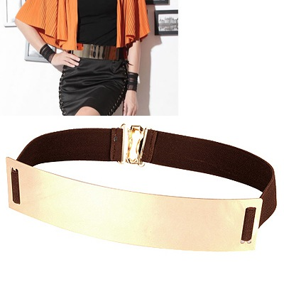 Homemade Dark Brown Mirror Surface Wide Design Alloy Wide belts