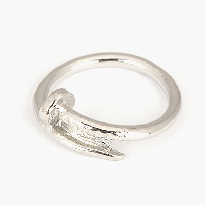 French Silver Color Nail Shape Simple Design Alloy Korean Rings