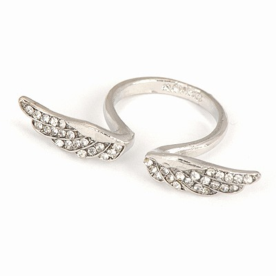 Corporate Silver Color Wings Decorated Open Design Alloy Korean Rings