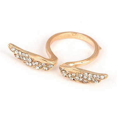 Legal Gold Color Wings Decorated Open Design Alloy Korean Rings